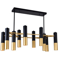 CWI Lighting 1015P32-10-129 Anem 10 Light 32 inch Matte Black and Satin Gold Chandelier Ceiling Light