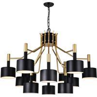 CWI Lighting 1017P32-12-129-A Corna 12 Light 32 inch Matte Black Chandelier Ceiling Light