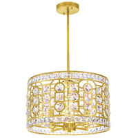 CWI Lighting 1026P16-4-193 Belinda 4 Light 16 inch Champagne Drum Shade Chandelier Ceiling Light