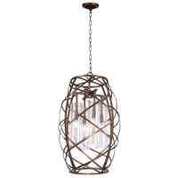 CWI Lighting 1030P17-4-217 Keeva 4 Light 17 inch Wood Grain Bronze Chandelier Ceiling Light