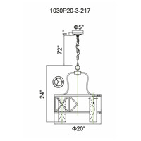CWI Lighting 1030P20-3-217 Keeva 3 Light 20 inch Wood Grain Bronze Chandelier Ceiling Light