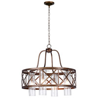 CWI Lighting 1030P24-4-217 Keeva 4 Light 24 inch Wood Grain Bronze Chandelier Ceiling Light