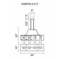 CWI Lighting 1030P34-4-217 Keeva 4 Light 10 inch Wood Grain Bronze Chandelier Ceiling Light