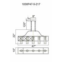 CWI Lighting 1030P47-5-217 Keeva 5 Light 10 inch Wood Grain Bronze Chandelier Ceiling Light