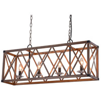 Marini 4 Light 36 inch Wood Grain Brown Island Chandelier Ceiling Light