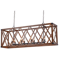 Marini 8 Light 51 inch Wood Grain Brown Island Chandelier Ceiling Light