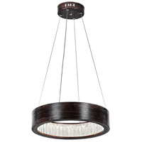 CWI Lighting 1040P16-251 Rosalina LED 16 inch Wood Grain Brown Down Chandelier Ceiling Light