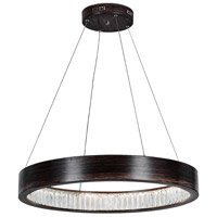 CWI Lighting 1040P26-251 Rosalina LED 26 inch Wood Grain Brown Chandelier Ceiling Light