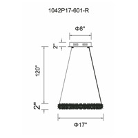 CWI Lighting 1042P17-601-R Arielle LED 17 inch Chrome Down Chandelier Ceiling Light