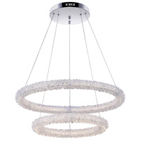 CWI Lighting 1042P25-601-2R Arielle LED 25 inch Chrome Down Chandelier Ceiling Light