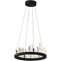 CWI Lighting 1043P16-101 Juliette LED 16 inch Black Up Chandelier Ceiling Light