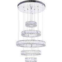 CWI Lighting 1044P24-601-R-5C Madeline LED 24 inch Chrome Down Chandelier Ceiling Light