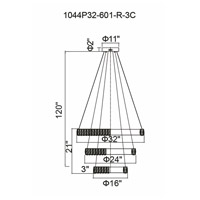 CWI Lighting 1044P32-601-R-3C Madeline LED 32 inch Chrome Down Chandelier Ceiling Light
