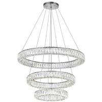 CWI Lighting 1044P32-601-R-3C Madeline LED 32 inch Chrome Down Chandelier Ceiling Light