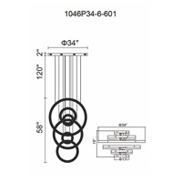 CWI Lighting 1046P34-6-601 Celina LED 58 inch Chrome Chandelier Ceiling Light