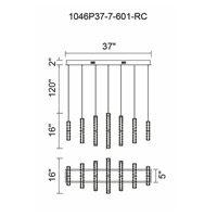 CWI Lighting 1046P37-7-601-RC Celina LED 37 inch Chrome Chandelier Ceiling Light