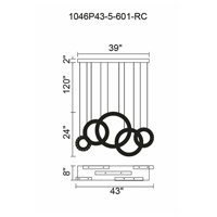 CWI Lighting 1046P43-5-601-RC Celina LED 8 inch Chrome Chandelier Ceiling Light