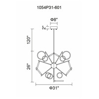 CWI Lighting 1054P31-601 Colette 31 inch Chrome Chandelier Ceiling Light