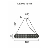 CWI Lighting 1057P32-12-601 Veronique 12 Light 32 inch Chrome Down Chandelier Ceiling Light