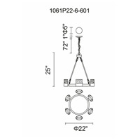 CWI Lighting 1061P22-6-601 Emmanuella LED 22 inch Chrome Chandelier Ceiling Light
