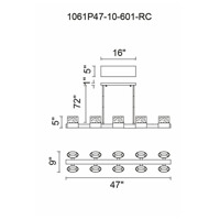 CWI Lighting 1061P47-10-601-RC Emmanuella LED 47 inch Chrome Island Chandelier Ceiling Light