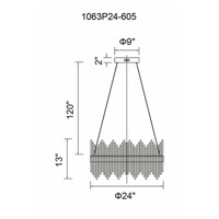 CWI Lighting 1063P24-605 Genevieve LED 24 inch Antique Brass Chandelier Ceiling Light