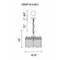 CWI Lighting 1065P16-4-601 Henrietta 4 Light 16 inch Chrome Chandelier Ceiling Light