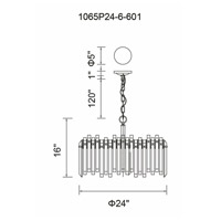 CWI Lighting 1065P24-6-601 Henrietta 6 Light 24 inch Chrome Chandelier Ceiling Light