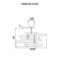 CWI Lighting 1068C28-5-620 Elizabetta 5 Light 28 inch Gold Leaf Flush Mount Ceiling Light