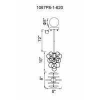 Anastasia 1 Light 8 inch Gold Leaf Pendant Ceiling Light