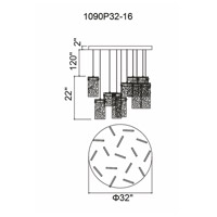 CWI Lighting 1090P32-16-620 Carolina LED 32 inch Gold Leaf Chandelier Ceiling Light