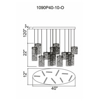 CWI Lighting 1090P40-10-620-O Carolina LED 12 inch Gold Leaf Chandelier Ceiling Light