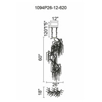 CWI Lighting 1094P26-12-620 Anita 12 Light 18 inch Gold Leaf Down Chandelier Ceiling Light