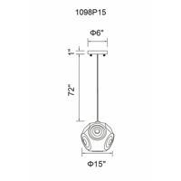 CWI Lighting 1098P15-1-601 Kingsley 1 Light 15 inch Chrome Pendant Ceiling Light