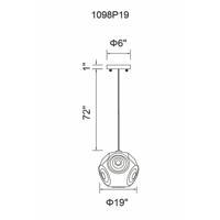 CWI Lighting 1098P19-1-601 Kingsley 1 Light 19 inch Chrome Chandelier Ceiling Light