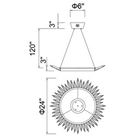 CWI Lighting 1108P24-613 Arctic Queen 24 inch Polished Nickel Up Chandelier Ceiling Light