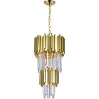 CWI Lighting 1112P12-4-169 Deco 4 Light 12 inch Medallion Gold Down Mini Chandelier Ceiling Light