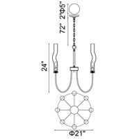 CWI Lighting 1203P21-8-613 Meduse 8 Light 21 inch Polished Nickel Up Chandelier Ceiling Light