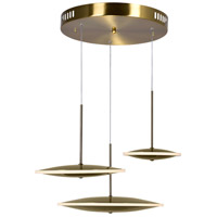 CWI Lighting 1204P22-3-625-A Ovni 22 inch Brass Multi Point Pendant Ceiling Light