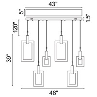 CWI Lighting 1214P48-6-236-A-RC Anello 48 inch White Oak Island/Pool Table Ceiling Light