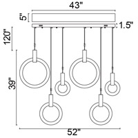 CWI Lighting 1214P52-6-236-RC Anello 52 inch White Oak Island/Pool Table Ceiling Light