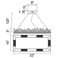 CWI Lighting 1218P32-613-RC Agassiz 32 inch Polished Nickel Island/Pool Table Ceiling Light