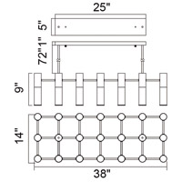 CWI Lighting 1221P38-21-625 Pipes 21 Light 38 inch Brass Island/Pool Table Ceiling Light