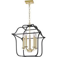 CWI Lighting 1223P16-5-602 Tudor 5 Light 16 inch Satin Gold and Black Up Chandelier Ceiling Light