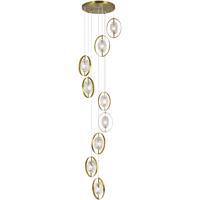 CWI Lighting 1224P24-9-625 Iris 9 Light 24 inch Brass Multi Point Pendant Ceiling Light
