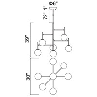 CWI Lighting 1228P36-7-169 Tourch 7 Light 30 inch Medallion Gold Down Chandelier Ceiling Light