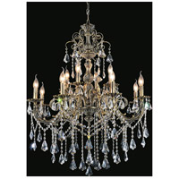 CWI Lighting 2011P36AB-12 Brass 12 Light 36 inch Antique Brass Chandelier Ceiling Light
