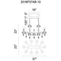 Flawless 10 Light 37 inch Black Chandelier Ceiling Light