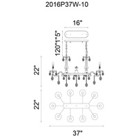 CWI Lighting 2016P37C-10 Flawless 10 Light 38 inch Chrome Up Chandelier Ceiling Light
