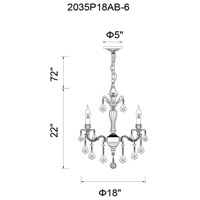 CWI Lighting 2035P18GB-6 Brass 6 Light 18 inch French Gold Up Chandelier Ceiling Light